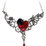 The Blood Rose Heart Necklace Pewter Alchemy P721