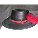 Leather Cavalier Hat with Plume