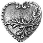 Victorian Heart Pewter Button 21-2307