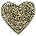 Rose Heart Pewter Button 21-2337