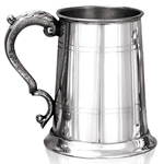Pewter Tankard One Pint Straight Two Line Georgian Handle  EP003