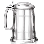 Straight Two Line Lidded One Pint Pewter Tankard  EP033