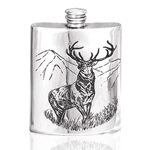 Stag Pewter Flask 6 Ounces