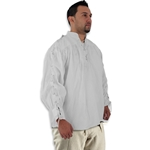 Renaissance Cotton Shirt with Laced Sleeves, White, XXL