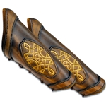 Leather LARP Celtic Padded Arm Bracer in Brown Large