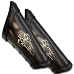 Leather LARP Necromancer Padded Arm Bracer in Black Small