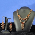 Antique Brass Chainmail Necklace and Earring Set 37-4095