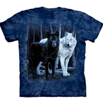 Black and White Wolves Adult Plus Size T-Shirt 43-1011060