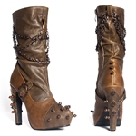 Two Tone Mid Calf Spiked Boots In Brown