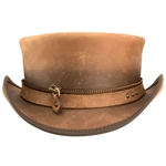 Zippered Leather Top Hat in Brown