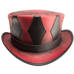 Leather Harlequin Top Hat in Ruby