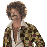 Disco Dirt Bag Wig & Moustache Adult 100-194627