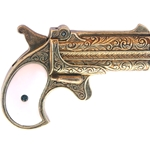 Western 1866 Double Barrel Derringer Gold Finish Non-Firing
