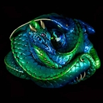 Coiled Dragon Sculpture in Emerald Peacock