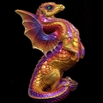 Rising Spectral Dragon Sculpture in Violet Flame