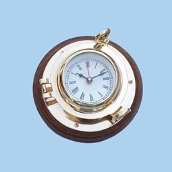 "Brass Porthole Clock 10"" 143-WC-1429"