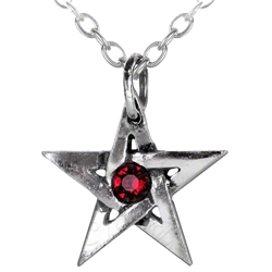 Crystal Pentagram Pendant Pewter Alchemy P365