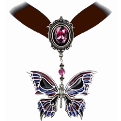 Death's Head Butterfly Choker Pewter Alchemy P633