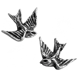 Swallow Studs Earrings Pewter Alchemy ULFE4