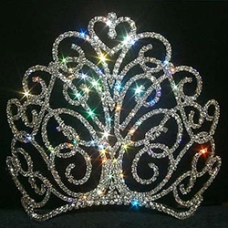 Large Flourishing Heart Tiara - Contoured Base 172-11867LG