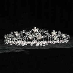 Garden Row Twisted Wire Crystal and Pearl Tiara 172-14166