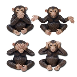Chimpanzee statue set of 4