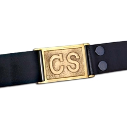 Civil War Black Leather Belt with Brass Buckle 200310