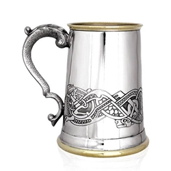 Celtic Scene Brass Lip and Base One Pint Pewter Tankard EP151