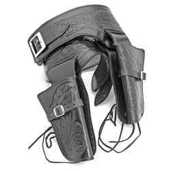 Double Rig Embossed Leather Holster Set - Lrg Waist