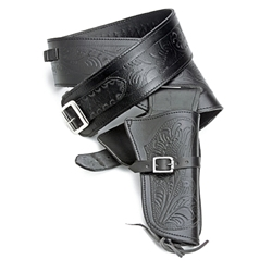 Fast Draw Single Holster Tooled Leather Rig - Lrg Waist