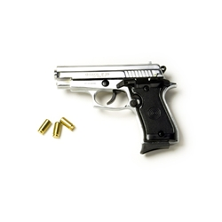 P29 Semi Automatic 9mm Blank Firing Pistol Nickel Finish 2438-7030