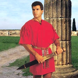 Mens Roman Cotton Tunic in Red - Centurion Legionnaire Soldier