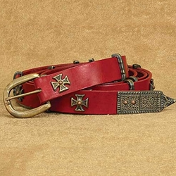 Medieval Thin Long Belt Red 26-200878