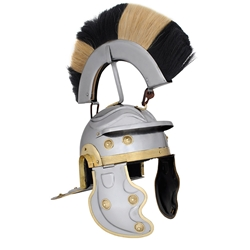 Roman Gallic Helmet Black and White Crest 29-AB3002
