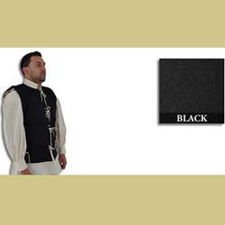 Medieval Waistcoat, 15th Century, Black, Size XL 29-GB0219