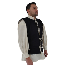 Medieval Waistcoat 15th Century, in Blue Wool, size Large 29-GB0228