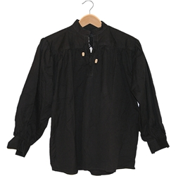 Renaissance Cotton Shirt Collarless Black Medium GB3033
