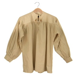 Renaissance Cotton Shirt Collarless Natural Large GB3038