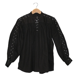 Renaissance Cotton Shirt Laced Sleeves Black Large GB3046