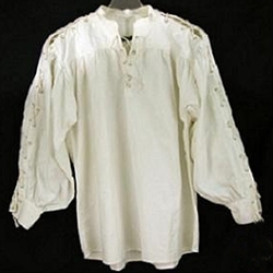 Renaissance Cotton Shirt Laced Sleeves Natural Large GB3050