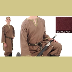 Trimmed Cotton Shirt, Burgundy, Large Viking Tunic