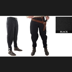 Medieval Ankle Laced Pants, Black, Medium