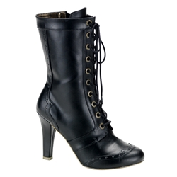 Steampunk Gear Eyelet Calf Boot 34-1103