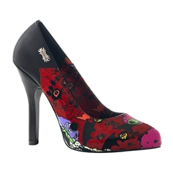 Psychobilly Bat Print Pumps 34-3159