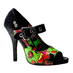 Psychobilly Monster Peep Toe Mary Janes 34-3164