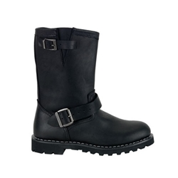 Black Leather Engineer Boots 34-3231
