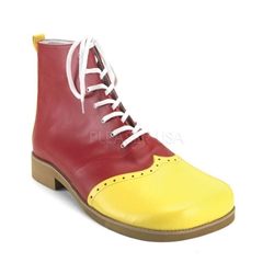 Men's Red Clown Shoes with Yellow Toe