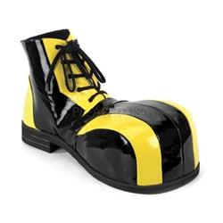 Men's Large Toe Black and Yellow Clown Shoes