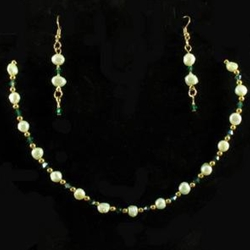 Pale Green Freshwater Pearl Necklace & Earrings Set 37-4080
