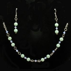 Japanese Jade Stone Necklace & Earrings Set